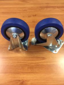 Castor set of Blue Rubber 125mm (Braked)