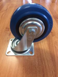 Castor Blue Rubber Swivel 125mm