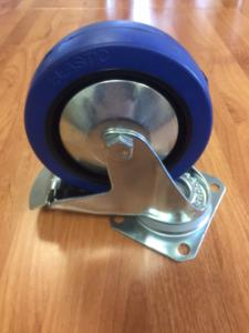 Castor Blue Rubber Swivel Braked 125mm