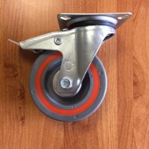 Castor Red/Grey Sandwich Swivel Braked 125mm