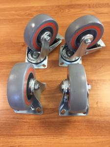 Castor set of Red / Grey Sandwich 125mm (Braked)