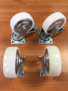 Castors set of White PP/PA 125mm (Braked)