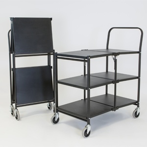 Solid Two shelf Folding Trolley empty and folded